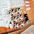 24pcs DIY Pedicure False Toenail Tips Black and White Simple Full Nial Tips