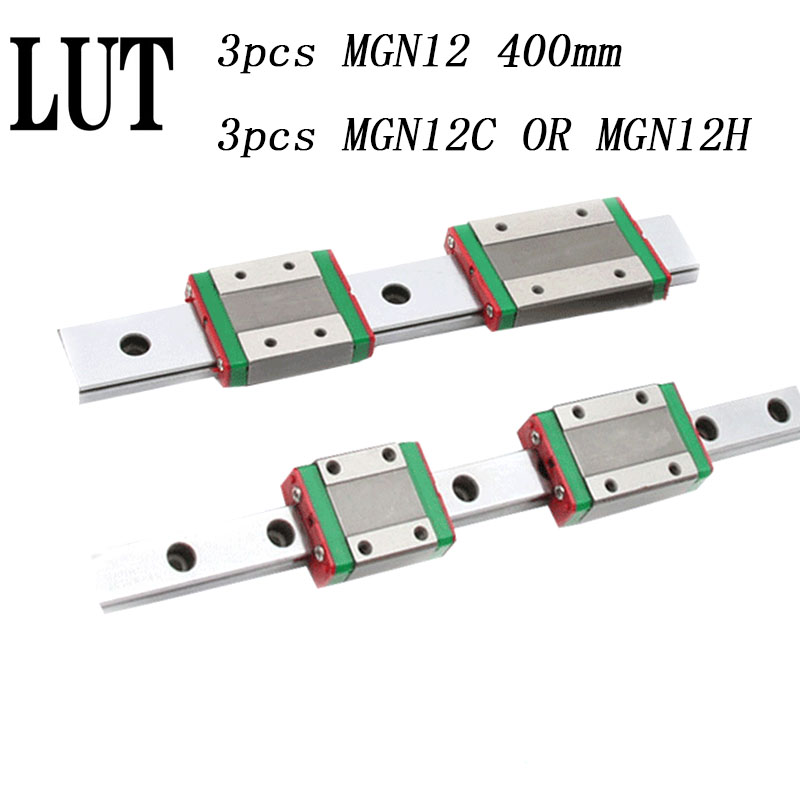 High quality 3pcs 12mm Linear Guide MGN12 L= 400mm linear rail way + MGN12C or MGN12H Long linear carriage for CNC XYZ Axis free shipping miniature linear rail for 3pcs mgn12 400mm linear guide 3pcs mgn12c carriage for cnc router xyz table