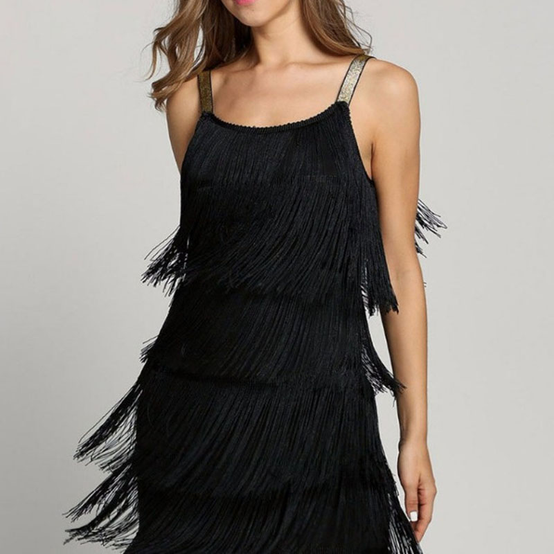 Tassel Dress Women Sexy Summer Flapper Beach Dress Strap Low Cut Black Silver White Short Fringe Party Dresses A-005