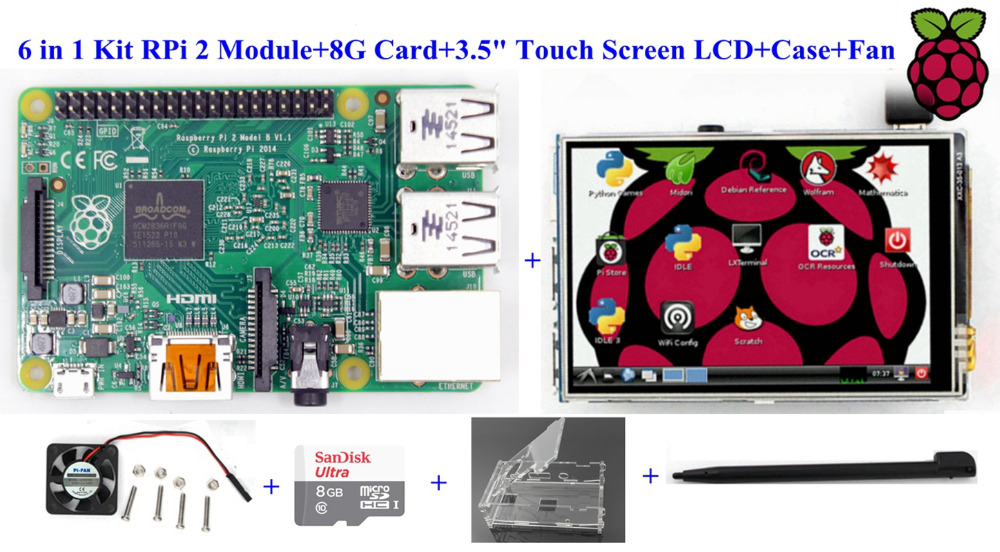 6 in 1 Kit Raspberry Pi 2 Module+8G Card+3.5 Touch Screen Display LCD+Case+Fan Free Shipping
