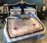 Juego de cama Noble de algodón egipcio Boho funda de edredón sábana/funda de almohada de lino 4 piezas juegos de cama de princesa de lujo decoración del hogar