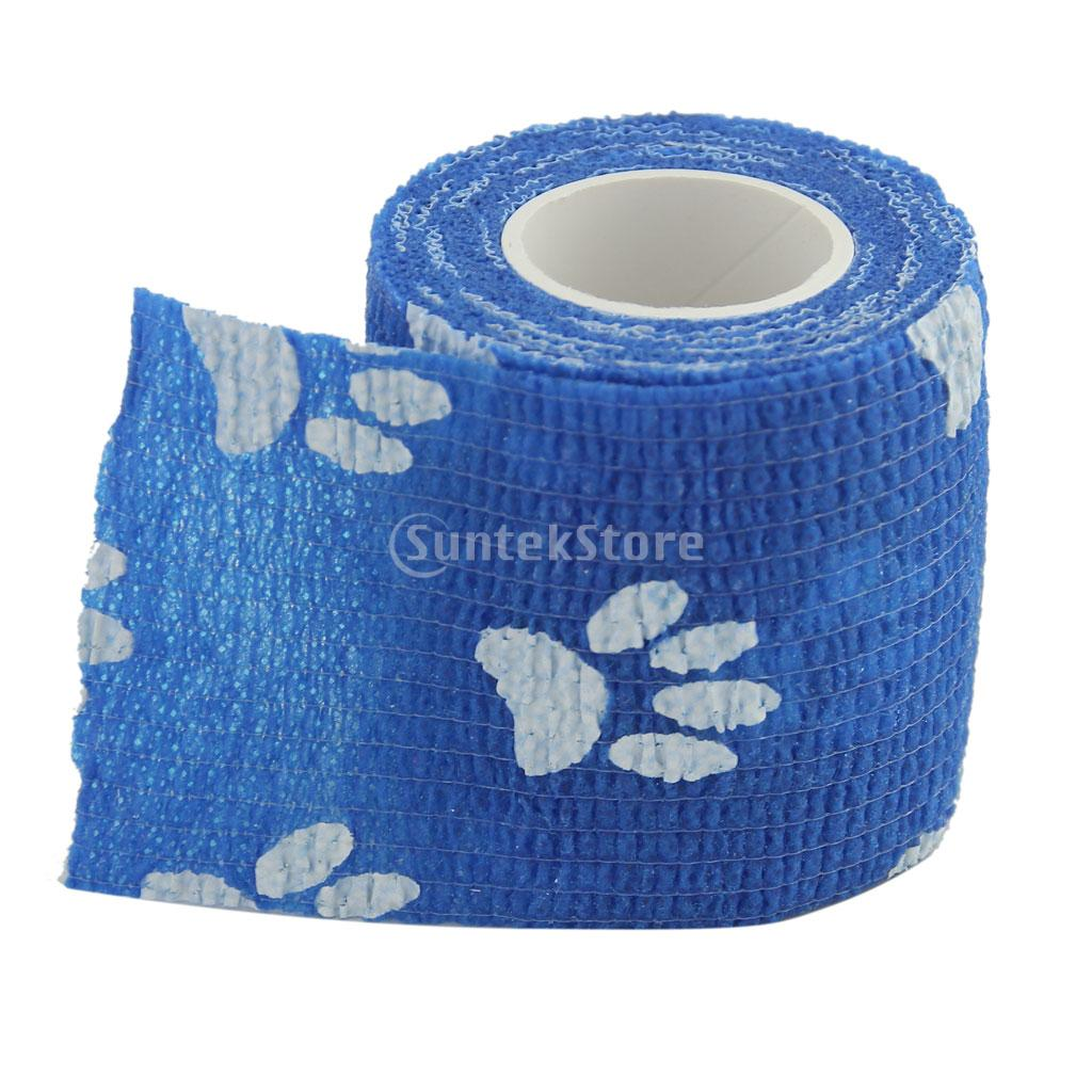 6 Pcs Cat Dog Pet Cohesive Bandage Gauze Tape Medical Care Wrap Claws Print