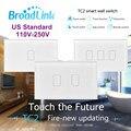 Broadlink tc2, au padrão dos eua, 1 2 3 gang opção, smart home automation, controle remoto sem fio de telefone lâmpadas de controle remoto interruptor de luz