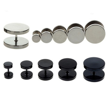 Free Shipping 2pc Black Sliver Stainless Steel Fake Cheater Ear Plugs Gauge Body Jewelry Pierceing 6-14mm Hot Sale
