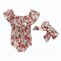 Newborn Baby Girls Flower Romper chrysanthemum Jumpsuit Sunsuit +Headband Outfits Set Clothes Baby Sleeveless Clothing 0 2Y