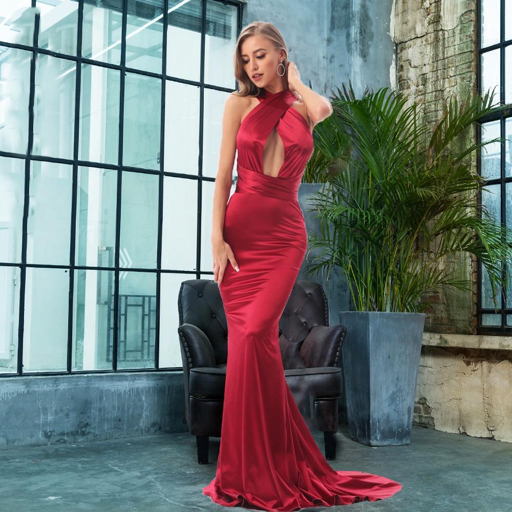 2019 Sexy sirène Satin robes étage longueur robe de soirée évider bricolage bretelles moulante dos nu Maxi robe
