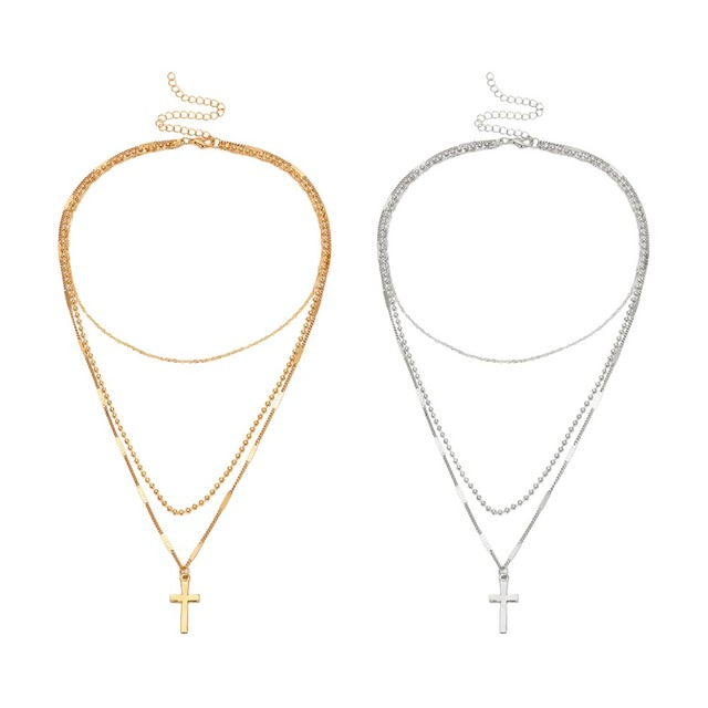 Boho Layered Iron Cross Pendant Choker Necklace Golden Beads Jesus Long Chain Necklace Charm Crucifix Christian Couple Jewelry