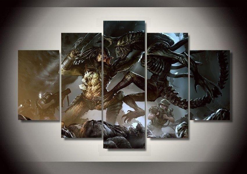 5 Panels Alien VS Predator Canvas Paintings Home Decor