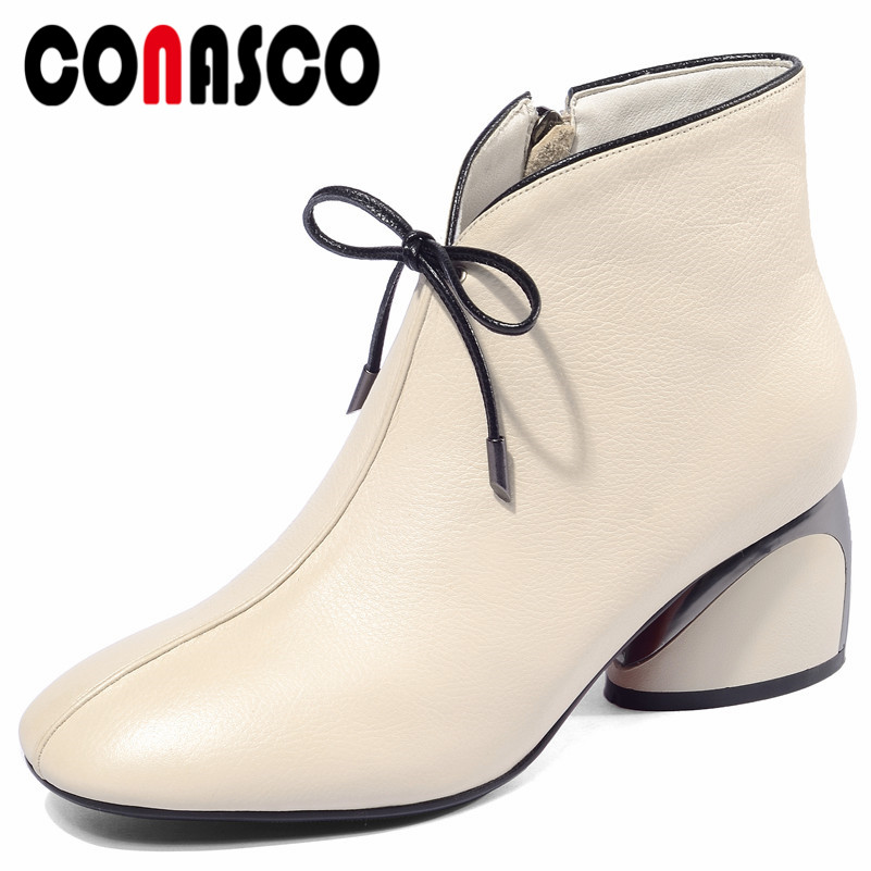 CONASCO Fashion Women Genuine Leather Ankle Boots Zipper Bowtie Party Dancing Shoes Woman Sexy High Heels Martin Shoes Boots CONASCO Fashion Women Genuine Leather Ankle Boots Zipper Bowtie Party Dancing Shoes Woman Sexy High Heels Martin Shoes Boots