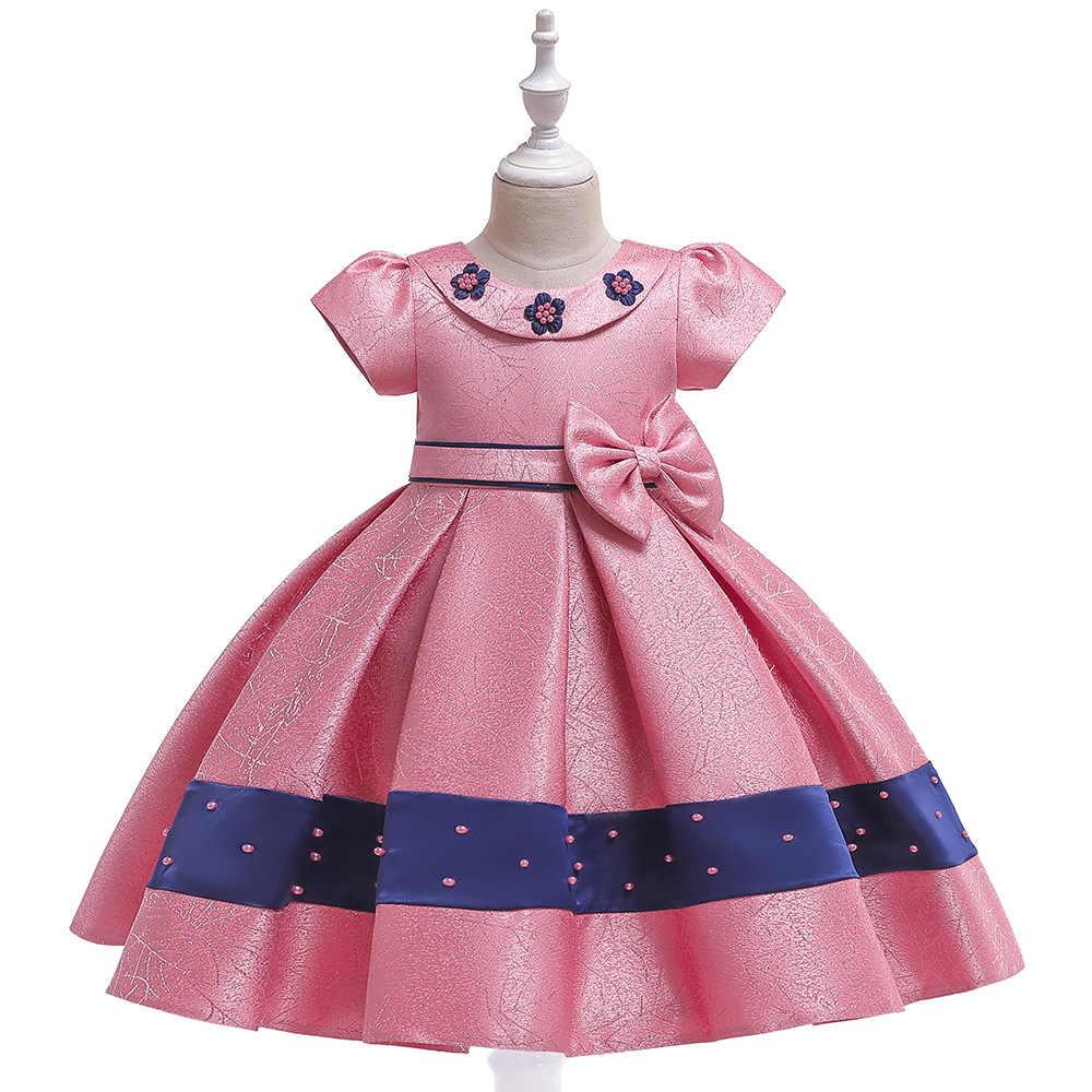 Шелковое платье принцессы с бисером для девочек на День рождения; вечерние платья для девочек с цветочным узором; вечерние платья для маленьких девочек на свадьбу