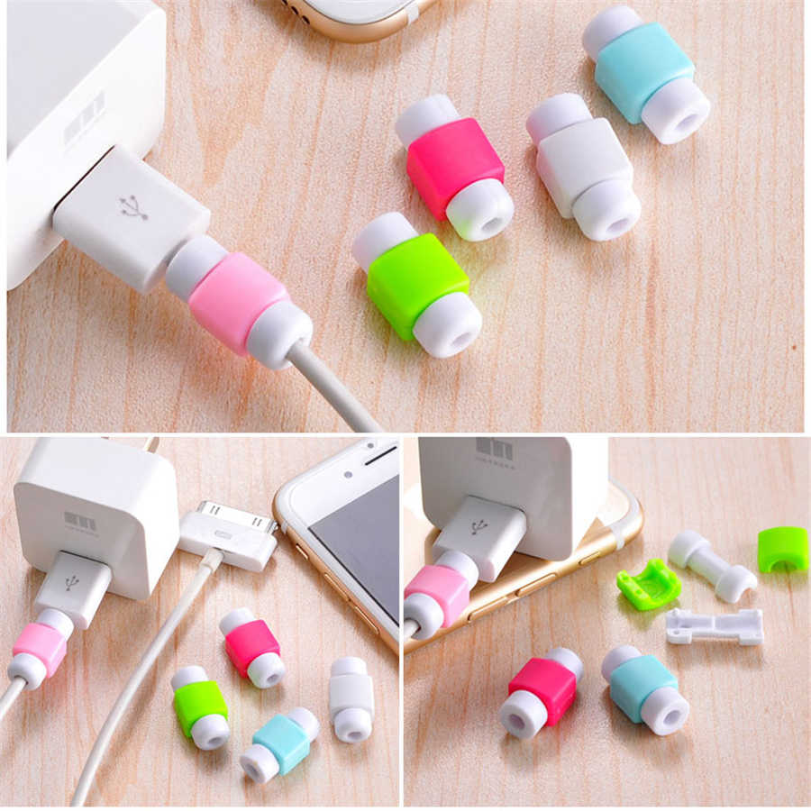 20pcs/lot Cable Protector Data Line Cord Protective Case Cable Winder Cover For iPhone USB Color Charger Cable Protection Sleeve