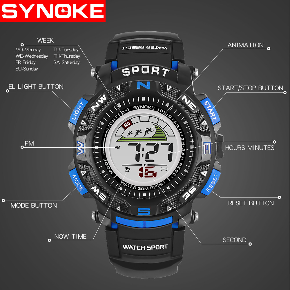 Men Watches Sports Multi Function Military Waterproof 50m Sports Watch LED Digital Dual Movement Watch Rubber Wrist Watch 2019