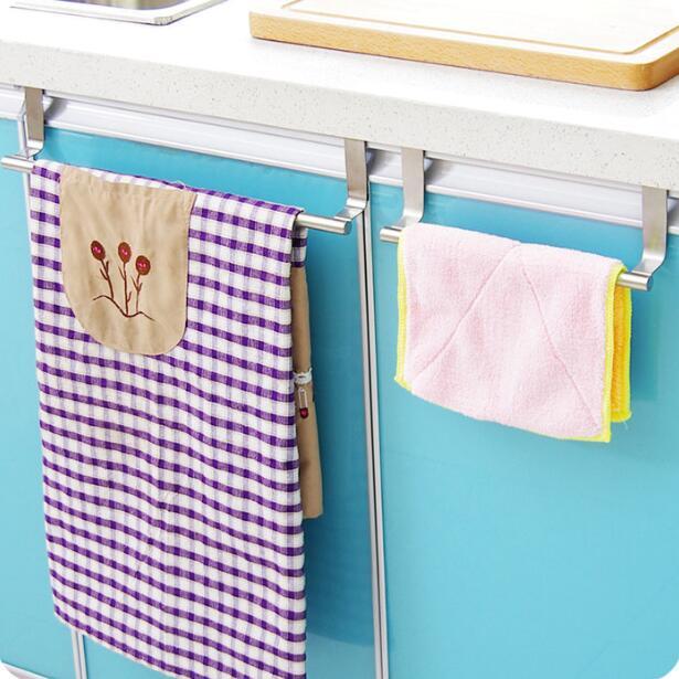 Multi Purpose z nerezové oceli Single ručník Rack kuchyňské linky Dveřní závěs Kuchyňské doplňky ručník kolejnice