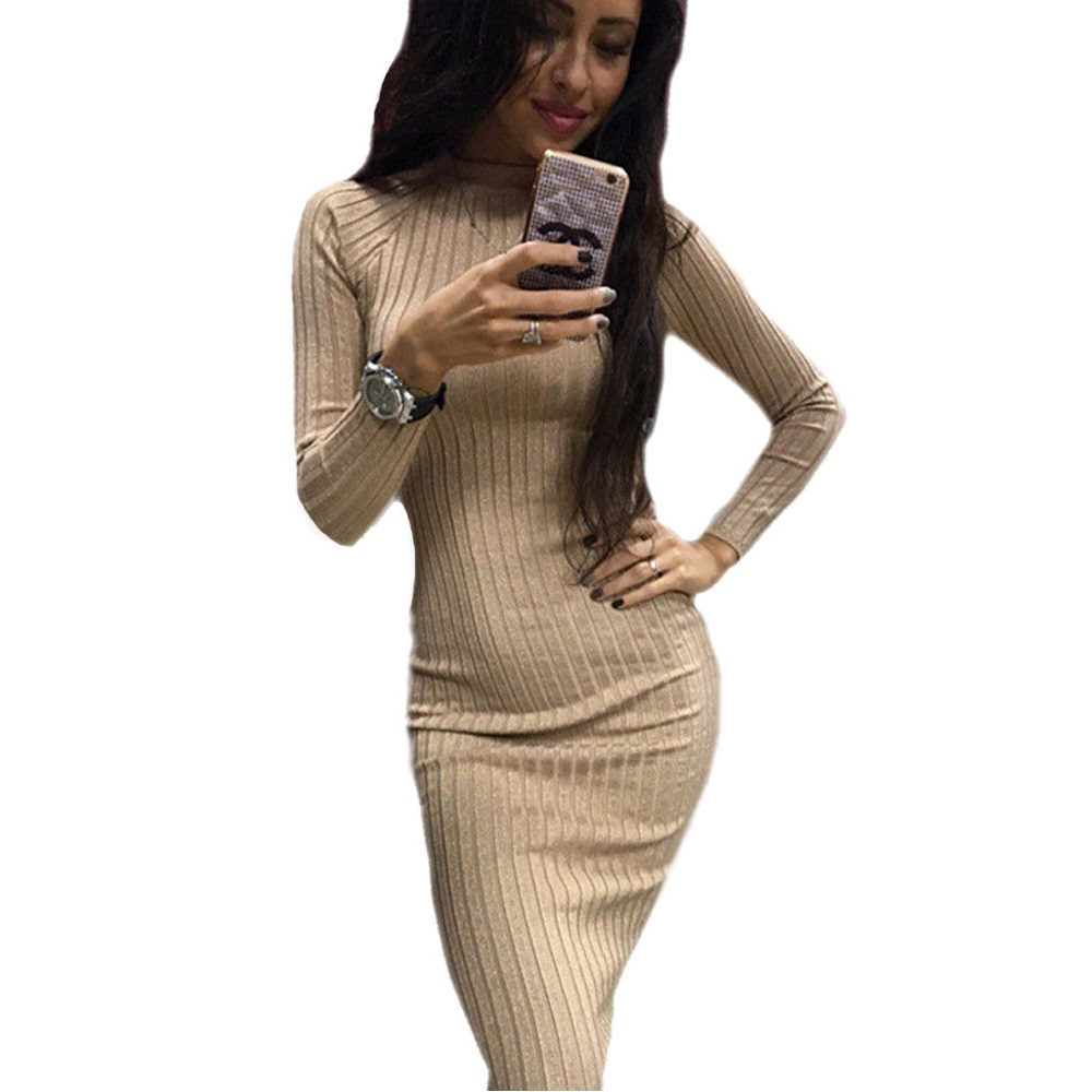 Long sleeve jacquard knitting mini bodycon dress