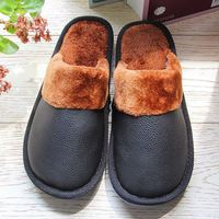 Autumn Winter Waterproof Warm Men Women Slipper PU Leather Couple Home Plush Velvet Slippers House Floor