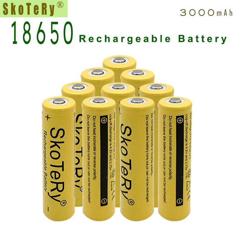 3 pces 3.7v 3000 mah 18650 li-ion bateria recarregável para lanterna quente novo 18650 3.7v 18650 baterias de bateria amarelo