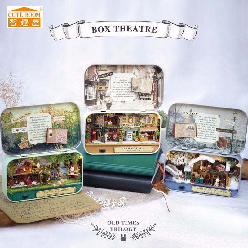 Cuteroom Old Times Trilogy Wooden DIY Handmade Box Theatre Dollhouse Miniature Tin Box With LED Decor Gift For Children cuteroom diy model dollhouse miniature voice activated led light box theatre gift for birthday valen
