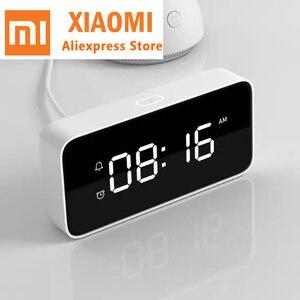 Image 1 - Xiao mi Xiaoai Smart Trasmissione Di voce Di allarme Orologio Da Tavolo ABS Dersktop Orologi AutomaticTime Lavoro di calibrazione Con mi casa app