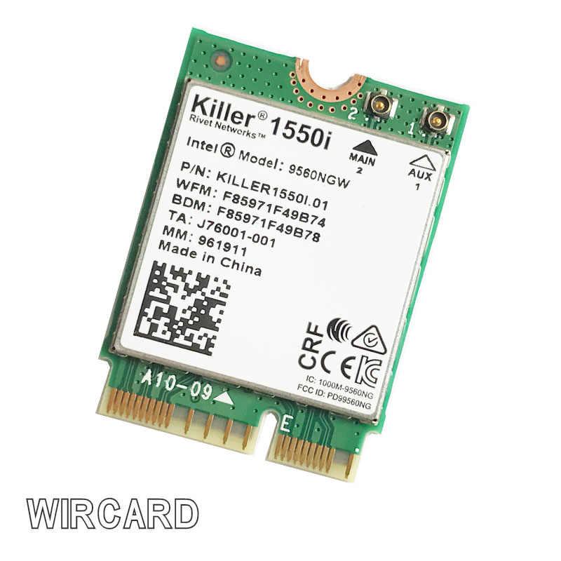 Assassino 1550i ac banda dupla 1.73 gbps sem fio 9560ngw ngff chave e wifi cartão 9560ac 802.11ac bluetooth 5.0 portátil para windows 10