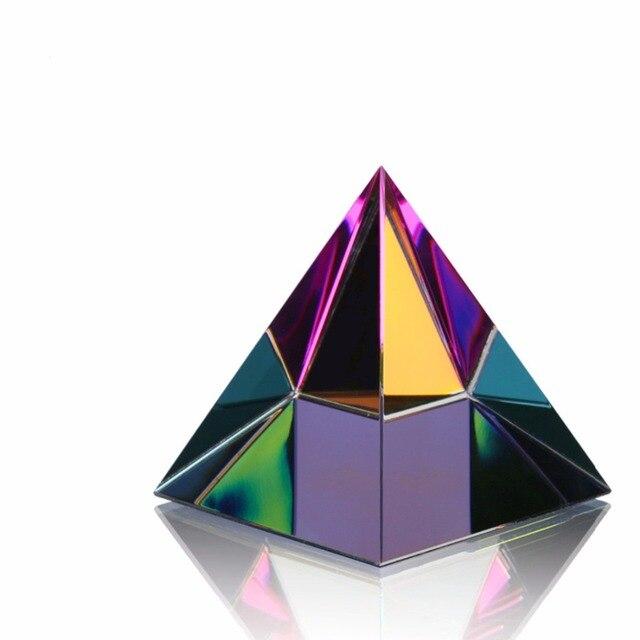H & D 2 ''egipt egipski kryształowa piramida przycisk do papieru w pudełku uzdrawianie energii Feng Shui z kryształ bez ołowiu chusteczki Home Decor