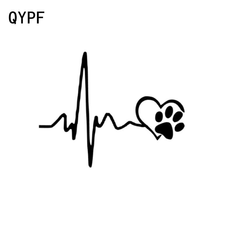 QYPF 14CM*11CM Fashion Heartbeat Lifeline And Paw Cat Dog Heart Love Vinyl Car Sticker Decoration Decal C15-0657