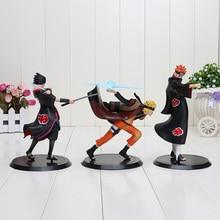 3pcs/set 17-19cm Anime Uzumaki Naruto + Pain + Uchiha Sasuke PVC Action Figure Model Toys Naruto Figure