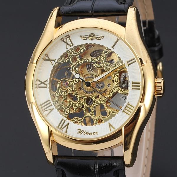 Winnaar Merk Business Gold Hollow Dial Lichtmetalen Luxe Case Classic Lederen Band Horloge Mechanische Automatische Horloge In Pain