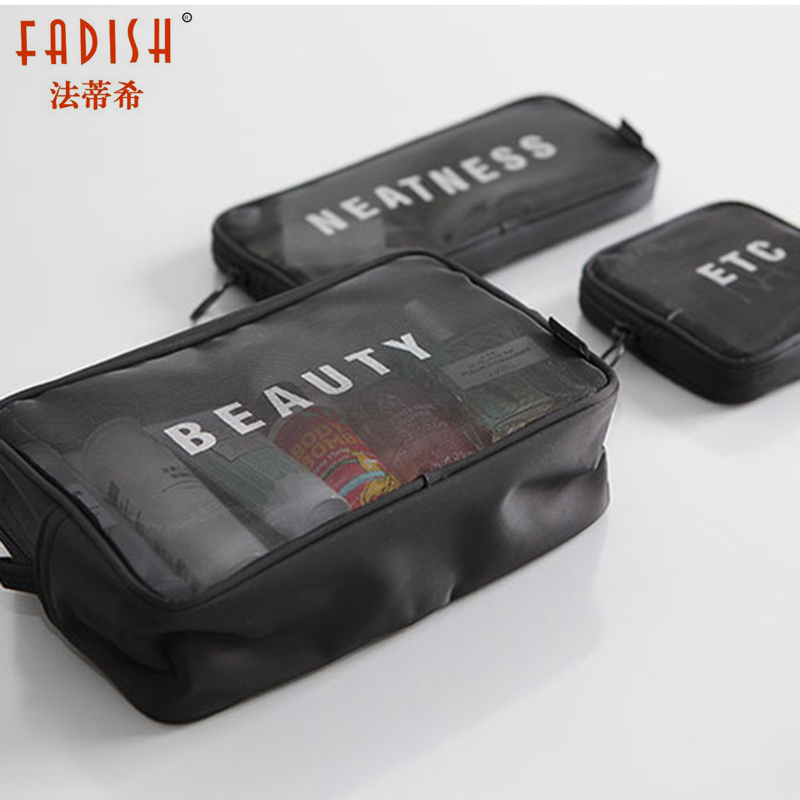 Fadish Cosmetic Bag Travel Makeup Bag Make Up Organizer Necessaire Neceser Toilet Pouch Toiletry Bags Beauty Case Transparent