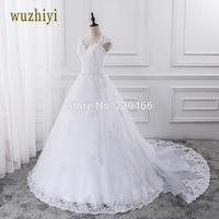 Wuzhiyi 2017 Kant Trouwjurk Met Mouwloze Custom Made Bruid Jurk A-lijn Open Back vestidos de noiva 2017 Afneembare Trein
