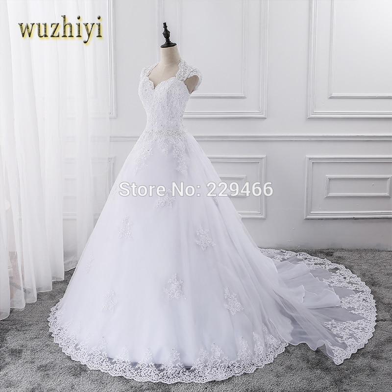 wuzhiyi 2017 Lace Wedding Dress With Sleeveless Custom Made Bride Dress A-line Open Back vestidos de noiva 2017 Detachable Train