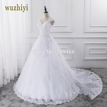 wuzhiyi 2017 Lace Wedding Dress With Sleeveless Custom Made Bride Dress A-line Open Back vestidos de noiva 2017 Detachable Train
