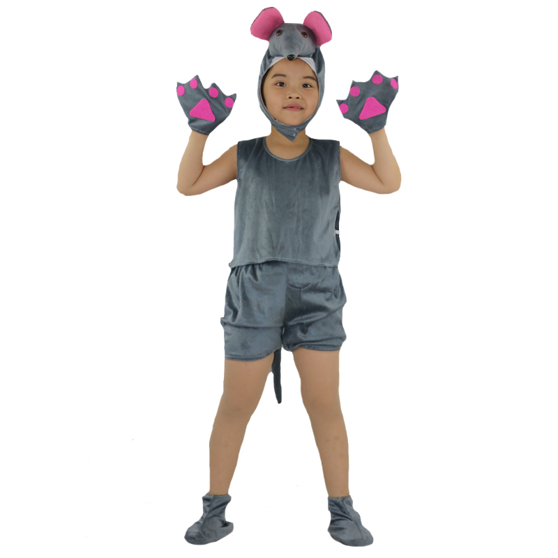 Cute Short Sleeved Animal Gray Mouse Cosplay Costume For Kids Performance Show Clothing Halloween Carnival Party Dress Supplies