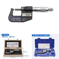 0 25 50 75 100mm Electronic digital PCT card High precision 0.001mm caliper gauge chrome plated outer diameter micrometer