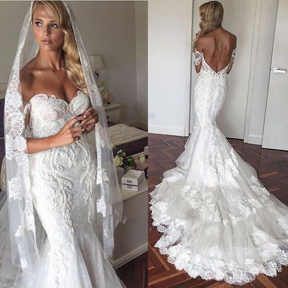 Mermaid Style Lace Wedding Gowns: 2017 Sexy Backless Lace Mermaid Wedding Dresses Short