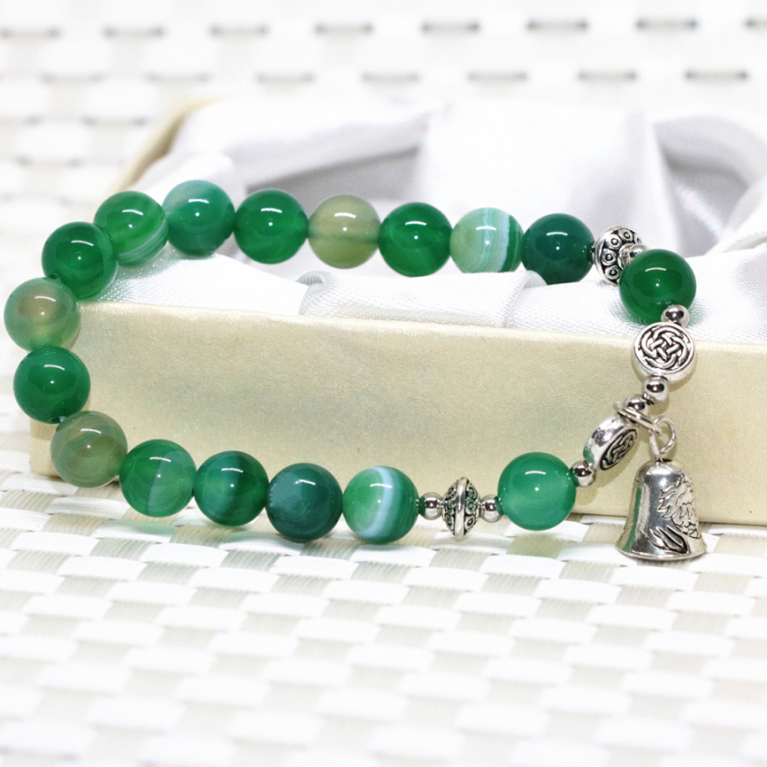 Silver-color bell 8mm natural stone green veins agat onyx carnelian round beads bracelet elastic diy jewelry 7.5inch B2084