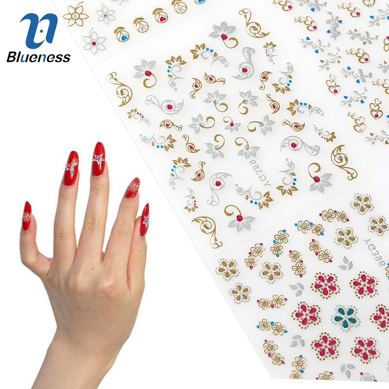 24 Sheet Beauty Mixed Design Bronzing Colorful Foil Nail Art Sticker Decals 3D Manicure Stamping Stickers For Nails Tips купить