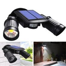 Luminária led solar 600lm atualizada, exterior, à prova d água, 10w, ângulo ajustável, cob, holofote com sensor de movimento
