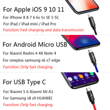 Baseus 3in1 USB Cable for Mobile Phone Micro USB Type C Charger Cable for iPhone Samsung 6 Charging Cable Micro USB Charger Cord