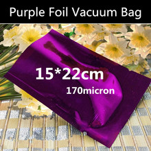 Wholesale 100pcs 15cmx22cm (5.9'' * 8.7'') 170micron 3 Sides Purple Aluminizing Foil Vacuum Bag Vacuum Foil Packaging Bag