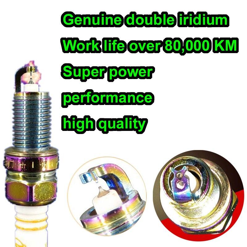 6pcs double iridium tip to tip pin color intrigue patent vortex spark plug LFR6X for IKH20TT
