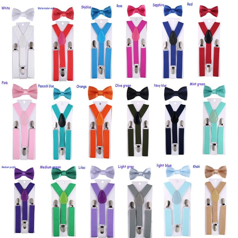 Fashion  Kids Suspenders With Bowtie  Children Bow Tie Set Boys Braces Girls Adjustable Suspenders Baby Wedding Ties Accessory