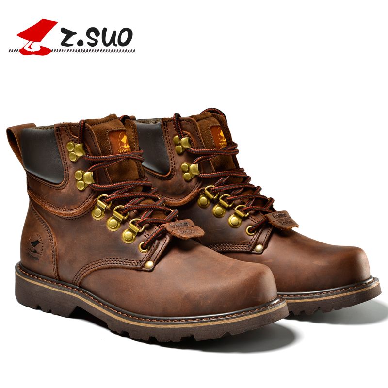 Z Suo Men s Fashion Leather boots boots high quality tooling boots travel Climbing botas Off