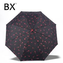 Bachon umbrella female automatic Sunny and Rainy Umbrella Three-folding super light portable