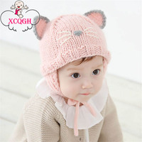 XCQGH Cartoon Cat Animal Baby Winter Hats Knitted Crochet Soft Cap For Kids Ears Protection Pink