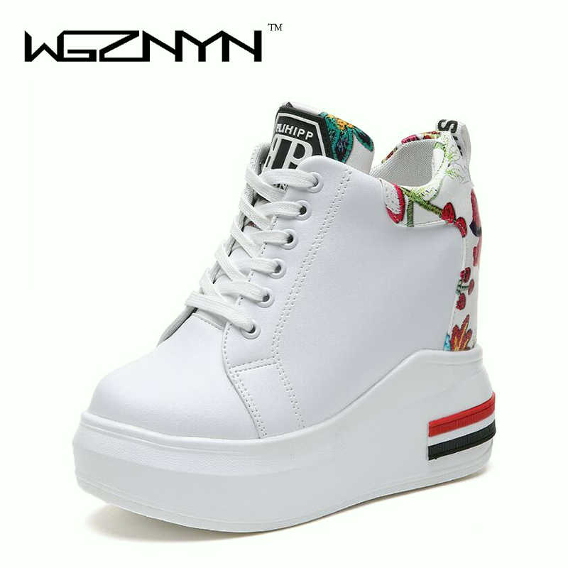 WGZNYN Summer Women High Platform Shoes Height Increasing Ladies Sneakers Spring Trainers Pu Leather Shoes woman Casual Shoe W55 1