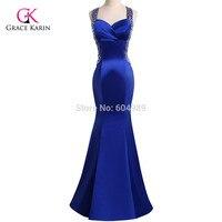 Mermaid Evening Dresses 2016 Grace Karin Royal Blue Beaded Luxury Backless Women Long Formal Gowns Elegant