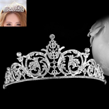 Fashion Crystal Jewelry Rhinestone Silver Plated Bridal Tiara Crown Wedding Hair Accessories Gorgeous Bride Princess Headwear