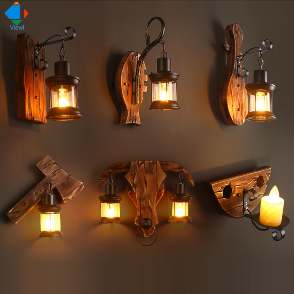 Viewi wooden led wall lamp for bedroom for reading bedsied decorative wall-lamp lampe vintage industriel 6 type include bulbs футболка стрэйч printio blink doctor who