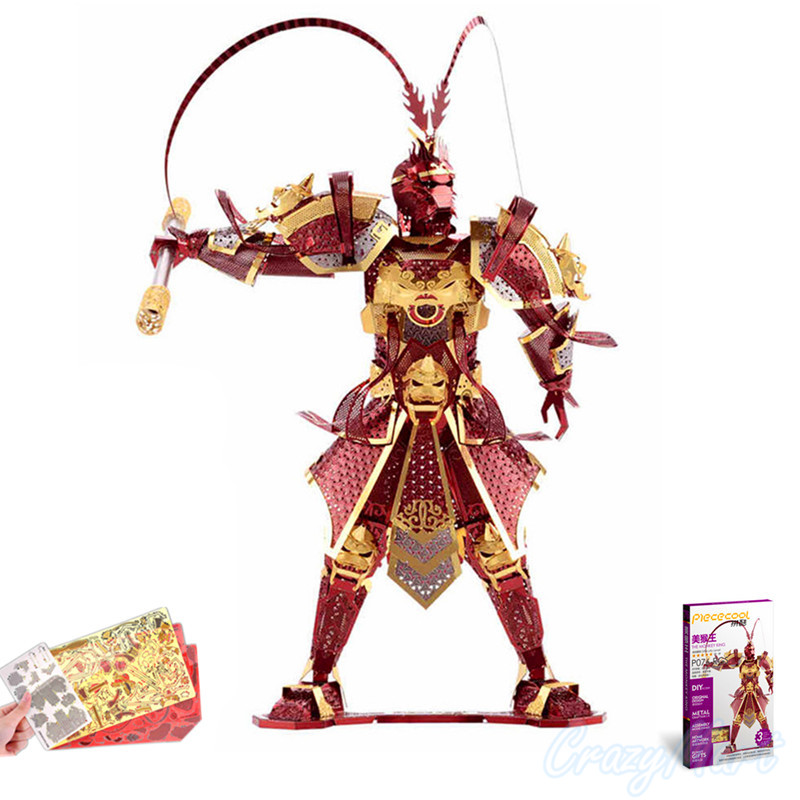 2016 Piececool 3D Metal Puzzle Monkey King Wukong Models P076-RGS DIY - ფაზლები - ფოტო 1