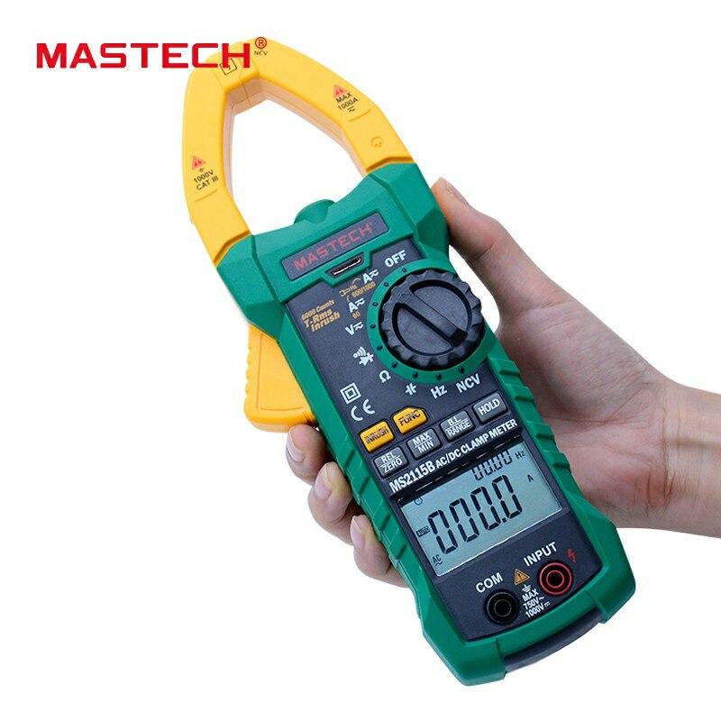MASTECH MS2115B Digital AC/DC Pinça com 6000 Contagens NCV Verdadeira RMS AC/DC Tensão Corrente Tester detector com USB